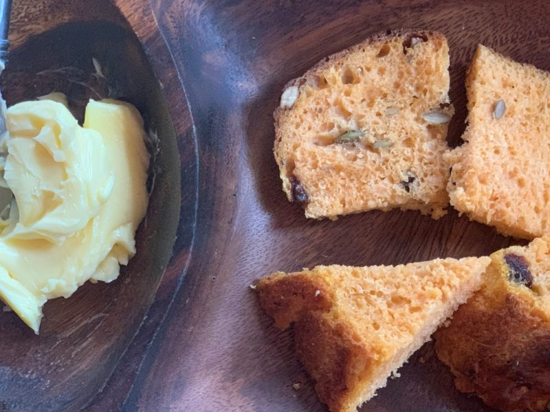 Carrot Peasant Bread with Raisins and Pumpkin Seeds