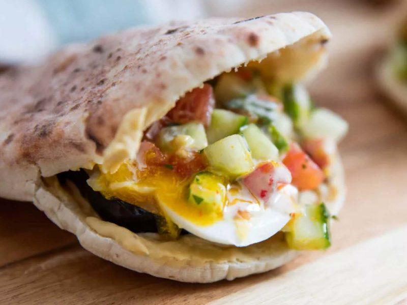 Sabich Sandwiches (Pitas With Eggplant, Eggs, Hummus, and Tahini)