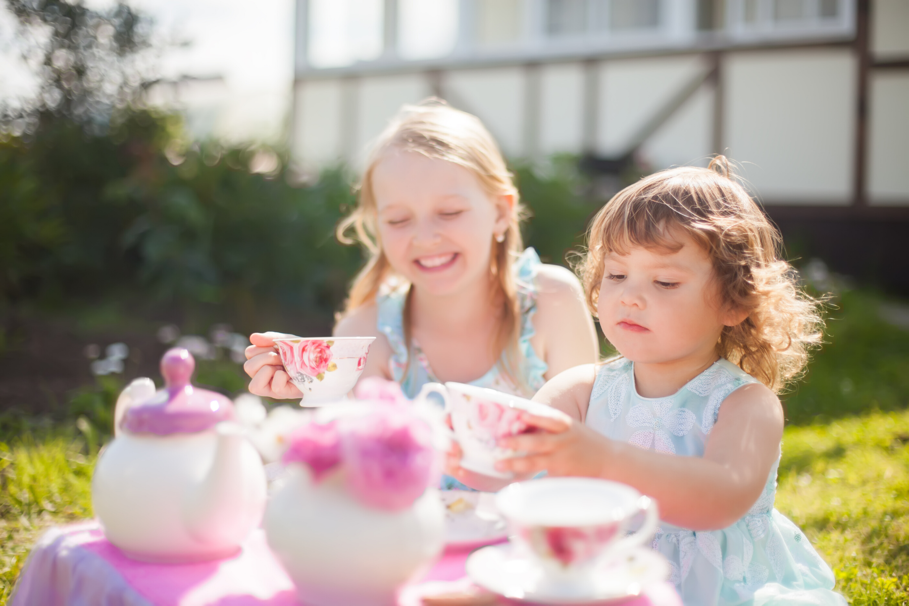 Kids tea party in the garden